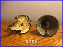 ANTIQUE BRASS COPPER ORNATE DRAGON 5.5 BELL With DRAGON HOLDER HEAVY RARE