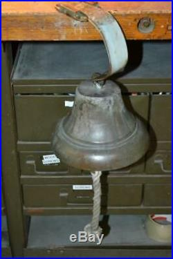 ANTIQUE BRASS SHIP BELL Nautical With Clapper & Mount 7 Maritime Old Vintage