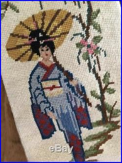 ANTIQUE COMPLETED JAPANESE GEISHA NEEDLEPOINT BELL PULL w BRASS & JADE TASSELS