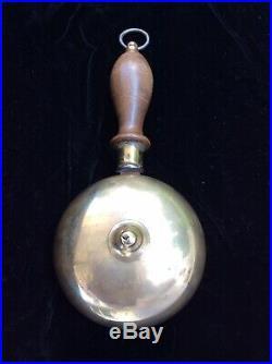 ANTIQUE FIRE MUFFIN BELL BRASS 1800s