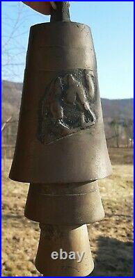 ANTIQUE Hanging 9 BRASS CAMEL BELLS MIDDLE EAST Very Heavy