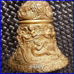 ANTIQUE Ornate Figural BRASS HAND BELL withLETO FINIAL Angels-Animals-Masks +