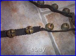 ANTIQUE Primitive 29 BRASS SLEIGH BELLS on Scalloped 72 LEATHER STRAP Vintage