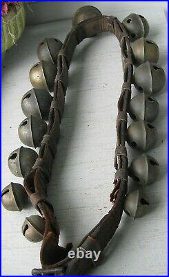 ANTIQUE SENSATIONAL SIGNED 15 GRADUATED BRASS SLEIGH BELLS ON LEATHER WithBUCKLE