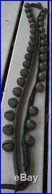 ANTIQUE SET OF 34 BRASS SLEIGH BELLS ON LEATHER STRAP WithBUCKLE