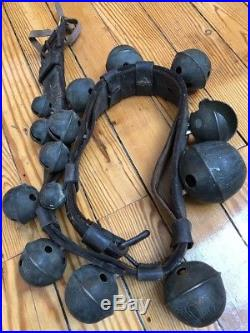 ANTIQUE Sleigh Bells Cascading #s Brass Pedal 2 Buckle RARE Vintage 48