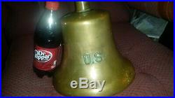 ANTIQUE WWII OLD US NAVY CAST BRASS SHIP QUARTERDECK BELL 9 5'8 19 LB no clapper