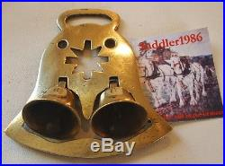 A Rare Twin Bell Antique Horse Brass With Star Cut Out