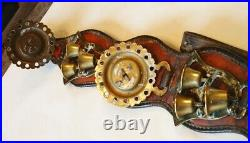 A Superb Antique 4 Brass Martingale2 Triple Bell Horse Brasses Red Leather