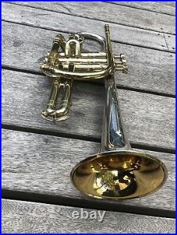 Amazing King SilverTone Cornet- USA- Sterling Silver Bell- Year 1935