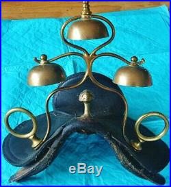 An Antique 3 Bell Saddle Chimes With Saddle Pad & Rare Bearing Reinhorse Brass