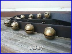 Antique19th C. 31 Single Throat Brass Sleigh Bells rare Fasteners SOUND GREAT