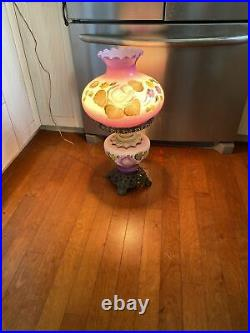 AntiqueGONE WITH THE WIND PARLOR BANQUET LAMPS PAINTED ROSESElectrified Purple