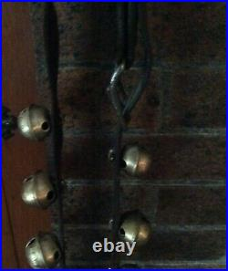 Antique 14 Brass Variegated Sleigh Bells On Leather Strap