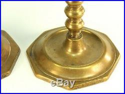 Antique 1650's Pair Baroque Candlesticks Bronze/Bell Metal, Spanish Netherlands