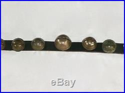 Antique 17 Graduated Petal Brass Horse Sleigh Bells Upon 78 Leather Belt. 1845