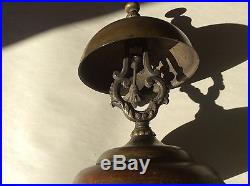 Antique 1870's Hotel Counter Top Service Brass & Wood Desk Call Bell