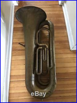 Antique 1880s Besson Prototype Tuba England / C Fisher NY 39.5 Tall 16 Bell