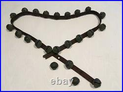 Antique 1880s Horse Sleigh Bells With Leather Strap And 30 Petal Brass #3 Bells