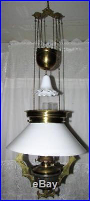 Antique 1882 Hanging Library Oil Lamp with Brass Frame Opal White Shade Smoke Bell