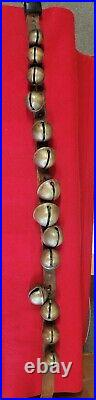 Antique 1900s Graduated Brass Sleigh Bells Leather Neck Strap