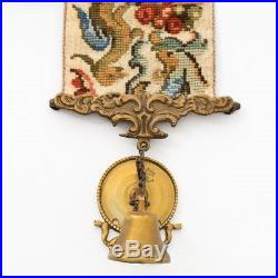 Antique 1900s Needlepoint Servants Tapestry Bell Pull with Ornate Brass Bell 62