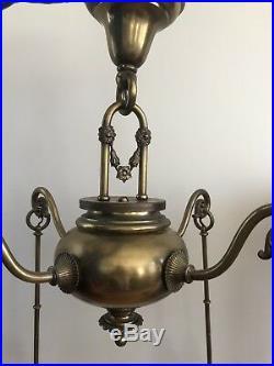 Antique 1910 Brass Victorian Chandelier Steuben Bell Shade Bradley Hubbard Era