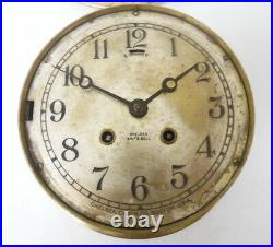 Antique 1919 Chelsea Ships Bell 6 Silver Dial Brass Case Clock Free Shipping