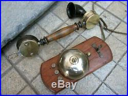 Antique 1920s Brass Bell in Wood Wall Beautiful Unusual French Phone Telephone
