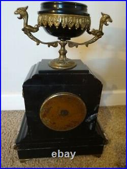 Antique 19th C French Japy Freres Slate & Marble Mantel Clock with Brass Finials