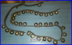 Antique 19th Cent. Brass Sleigh Bells 35 Bells 80 Strap #2 Bells-Strap Broken