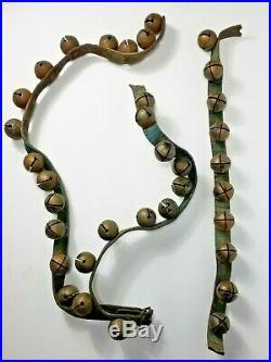 Antique 19th Century Brass Sleigh Bells 35 Bells Green Leather Strap No. 2 Bells