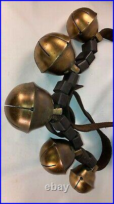 Antique 19th Century Brass Sleigh Bells Set of 5 Very Large