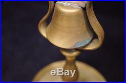 Antique 19th Century English Brass Tavern Bell Candlesticks with Original Patina