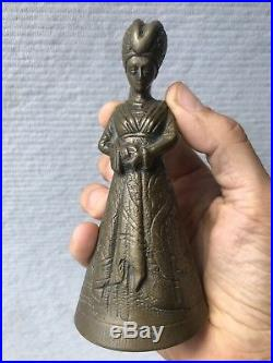 Antique 19th Victorian Brass figural Lady Figure Bell