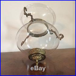 Antique 19th c Regency George III Hall Candle Bell Jar Lantern Blown Glass Brass