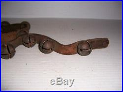 Antique 1 Brass Sleigh Bells on Leather Strap 55 Long with 22 Jingle Bells