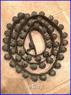 Antique 52 sleigh bells brass horse on leather strap Christmas 6