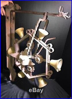Antique 6 BRASS Door Dinner Bells Crank Handle Wrought Iron Frame 28 X 19 HUGE