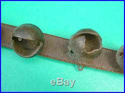 Antique 90 Leather Strap 45 Embossed Brass Horse Sleigh Bells