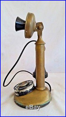 Antique AMERICAN BELL, AT&T BRASS CANDLESTICK Telephone ROTARY Dial PN. 1141332315