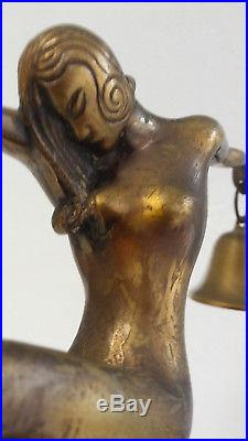 Antique ART DECO Era NUDE DANCING LADY & bells Figural BRONZE Sculpture statue