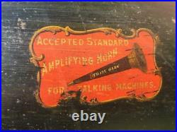 Antique Accepted Standard Amplifying Horn Large 42 Long Brass Bell Phonograph