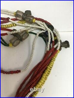 Antique African Trade Beads, Glass, Brass, Amber, Bells, Necklace 26