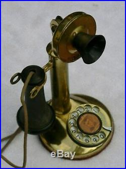 Antique American Bell Telephone Candlestick Brass Telephone Works
