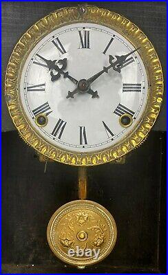 Antique Animated Monk Striking Bell Porcelain Dial Brass Decorated Mantel Clock