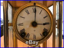 Antique Ansonia crystal regulator brass mantle clock KEEPS TIME AND STRIKES BELL