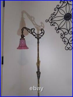 Antique Art Bridge Arm Floor Lamp. With shade