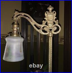Antique Art Deco Art Nouveau Bridge Arm Floor Lamp