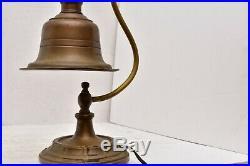 Antique Art Deco Brass Desk Lamp Bell shaped Shade Gooseneck Table Light vintage